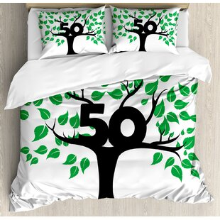 50th Birthday Decorations Stylized Tree Icon With Number Fifty Growth Aging Nature Theme Duvet Cover Set
