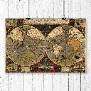 Vintage world map wayfair vintage world map by henricus hondius graphic art gumiabroncs Gallery