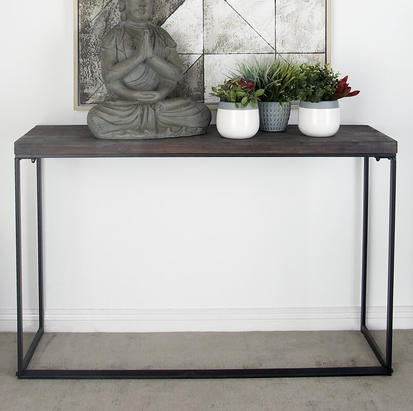 Metal and Wood Console Table. Cole   Grey Metal and Wood Console Table   Reviews   Wayfair