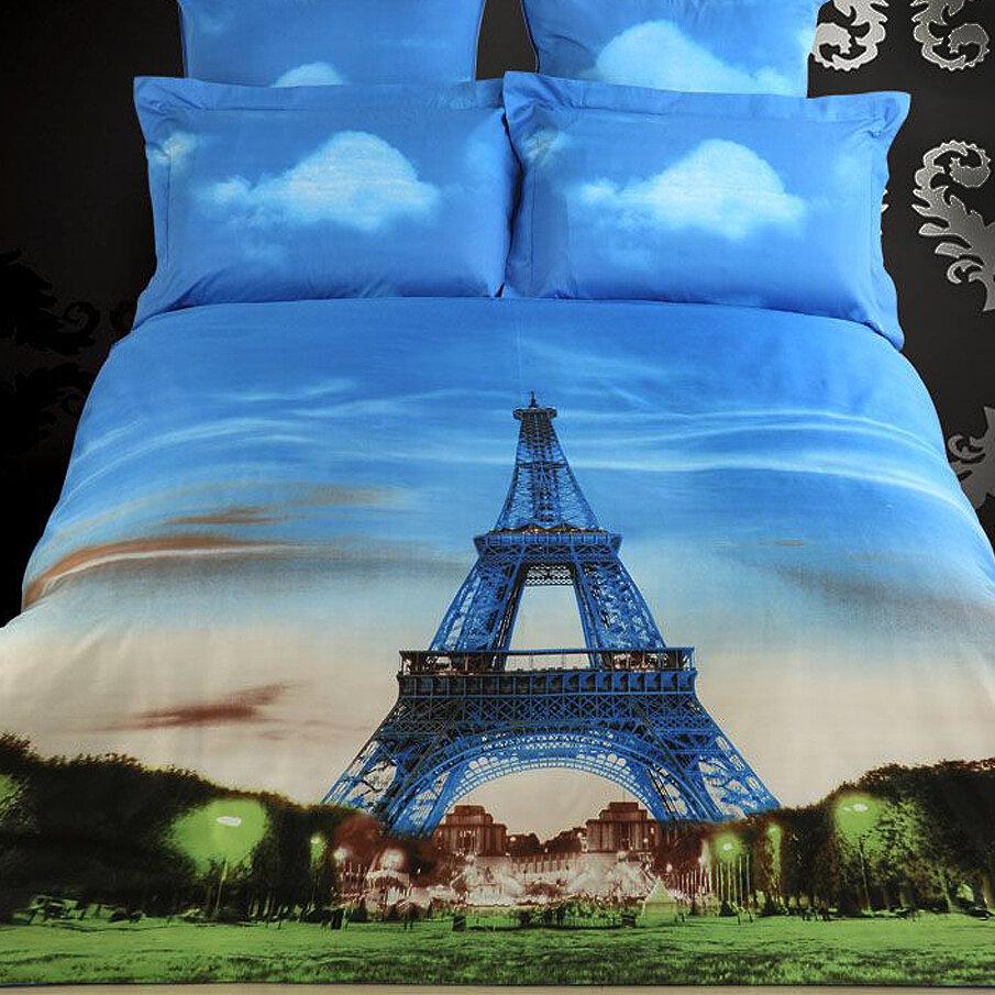 Dolce Mela Eiffel Tower Paris Cotton 6 Piece Reversible Duvet Cover ...