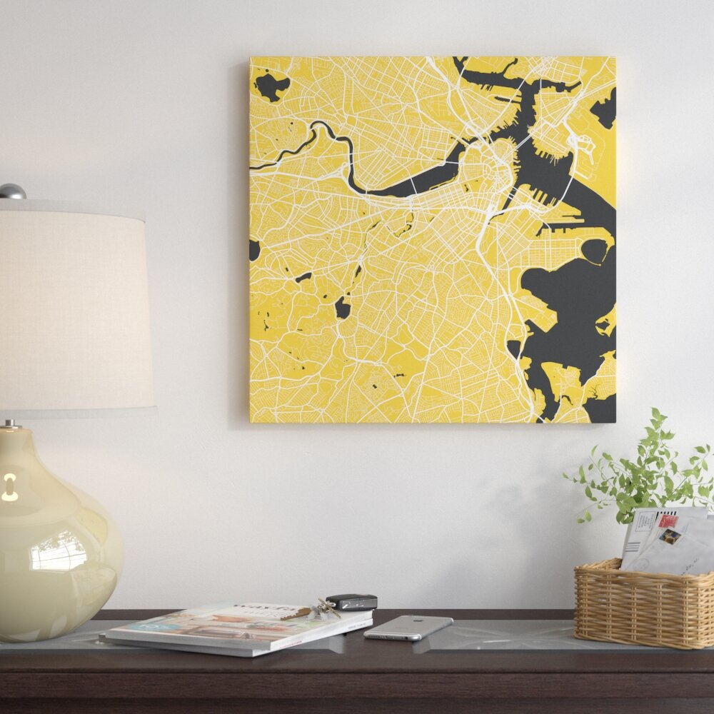 East Urban Home \'Boston Urban Roadway Map\' Graphic Art on Wrapped ...