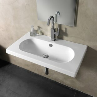 Edo Wide Ceramic 32 Wall Mount Bathroom Sink With Overflow