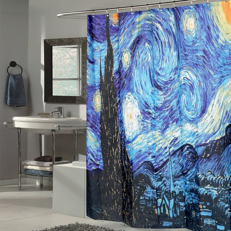 Sweet Home Collection Van Gogh Starry Night Fabric Shower Curtain ...