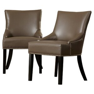 york genuine leather upholstered dining chair set of 2