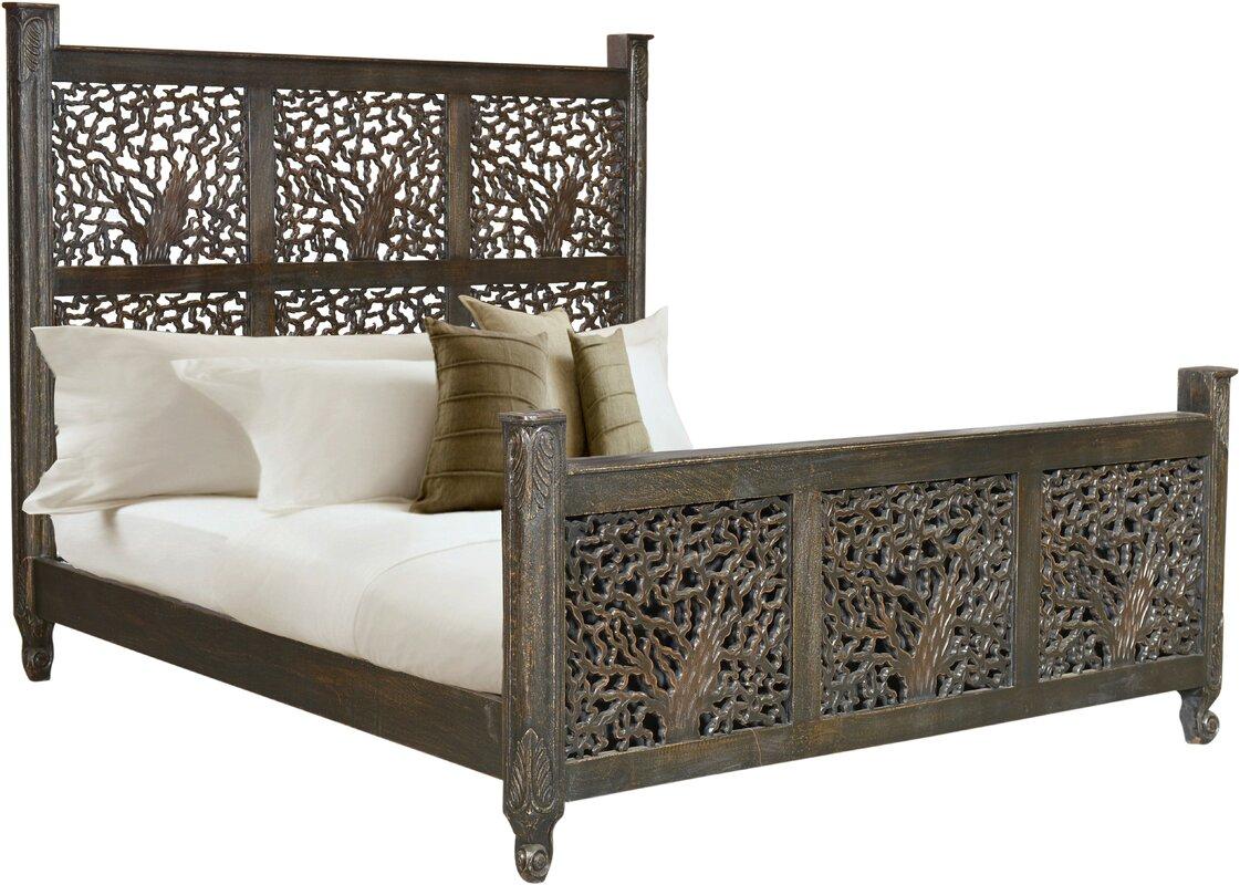 halina carved king platform bed