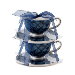 Bristol Indigo Tartan Cup and Saucer (Set of 2)