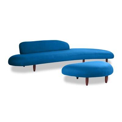Brayden Studio Potvin Mid Century Modern Sofa and Ottoman Set Upholstery Color: Sapphire