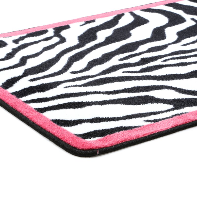 Milliken Zebra Glam Pink Passion Black White Area Rug