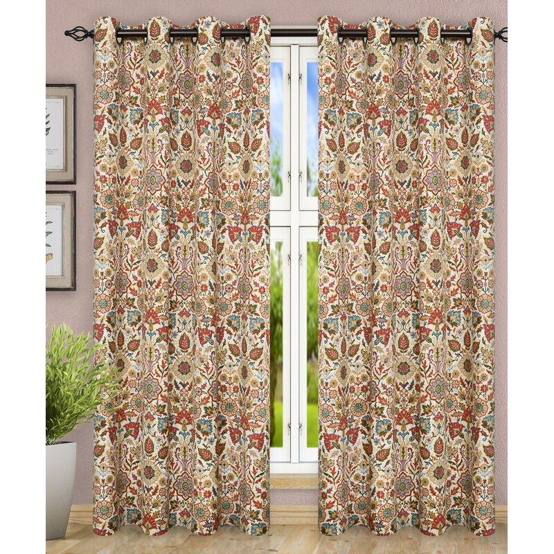 Adelle Floral Semi Sheer Grommet Curtain Panels