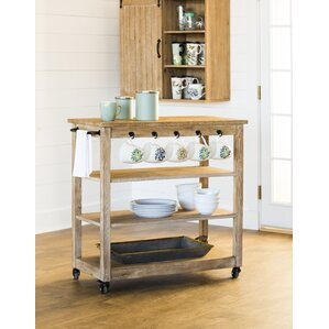 Kien Wooden Rolling Bar Cart by Gracie..