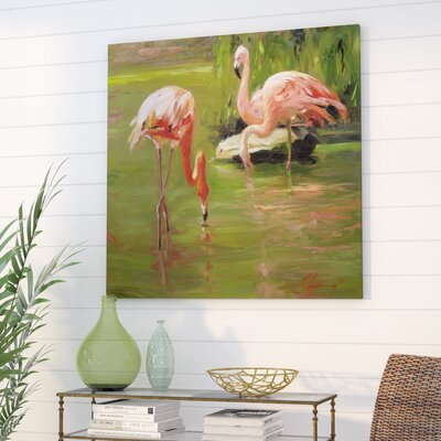 Bay Isle Home 'Flamingo II' Painting Print on Canvas Size: 48 H x 48 W x 1.5 D