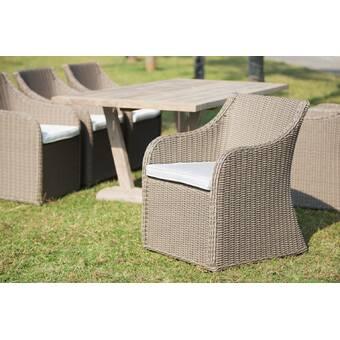 One Allium Way Acree Hacienda Patio Dining Chair with Cushion | Wayfair