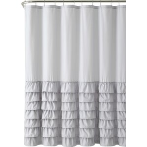 white and silver shower curtain. Peeples Ruffle Shower Curtain Gray  Silver Curtains You ll Love Wayfair