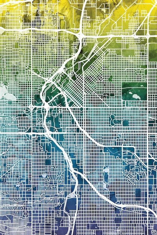 East Urban Home Color Grant Urban Street Map Series: Denver ... on