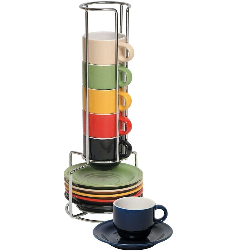 Imperial Home 6 Piece Colorful Stacking Espresso Cup and Saucer Set ...