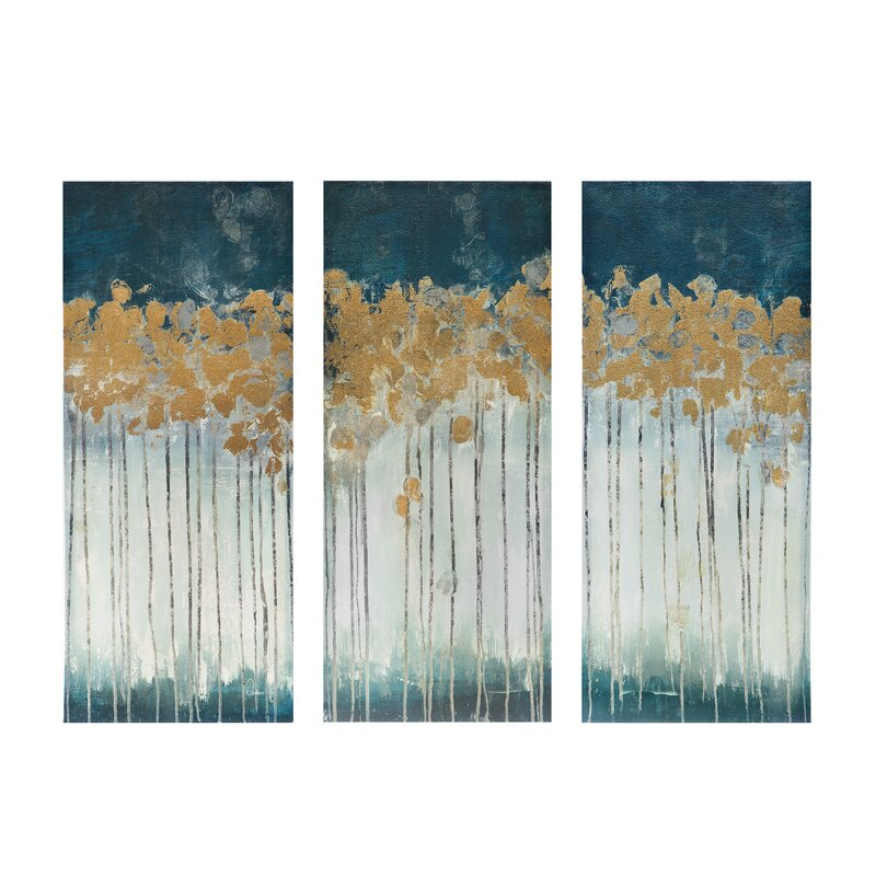 6ca13f045b3e  Midnight Forest  Gel Coat Canvas Wall Art with Gold Foil Embellishment  3-Piece.