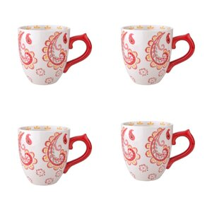 Dutch Wax 14 oz. Grace's Tea Ware Mug Set Paisley Floral 4 Piece Set (Set of 4)
