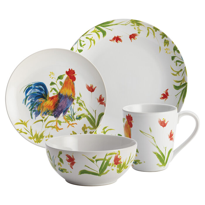 BonJour Rooster 16 Piece Dinnerware Set Service for 4 u0026 Reviews | Wayfair  sc 1 st  Wayfair & BonJour Rooster 16 Piece Dinnerware Set Service for 4 u0026 Reviews ...
