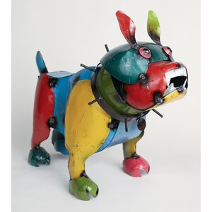 Large Recycled Metal Bulldog Figurine