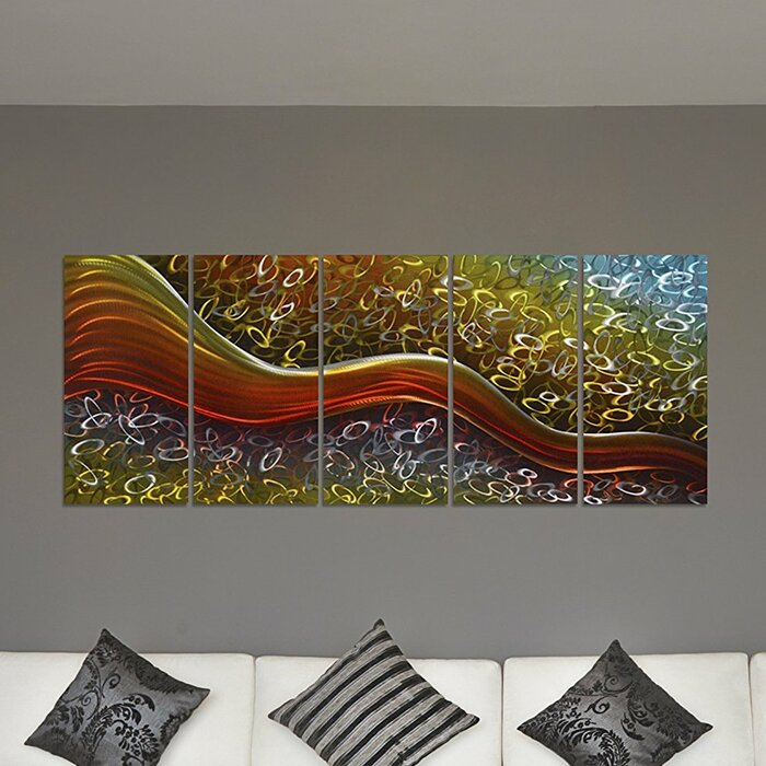 Colourful Happiness Within Field Large Abstract Metal Wall Art Decor 64 X 24