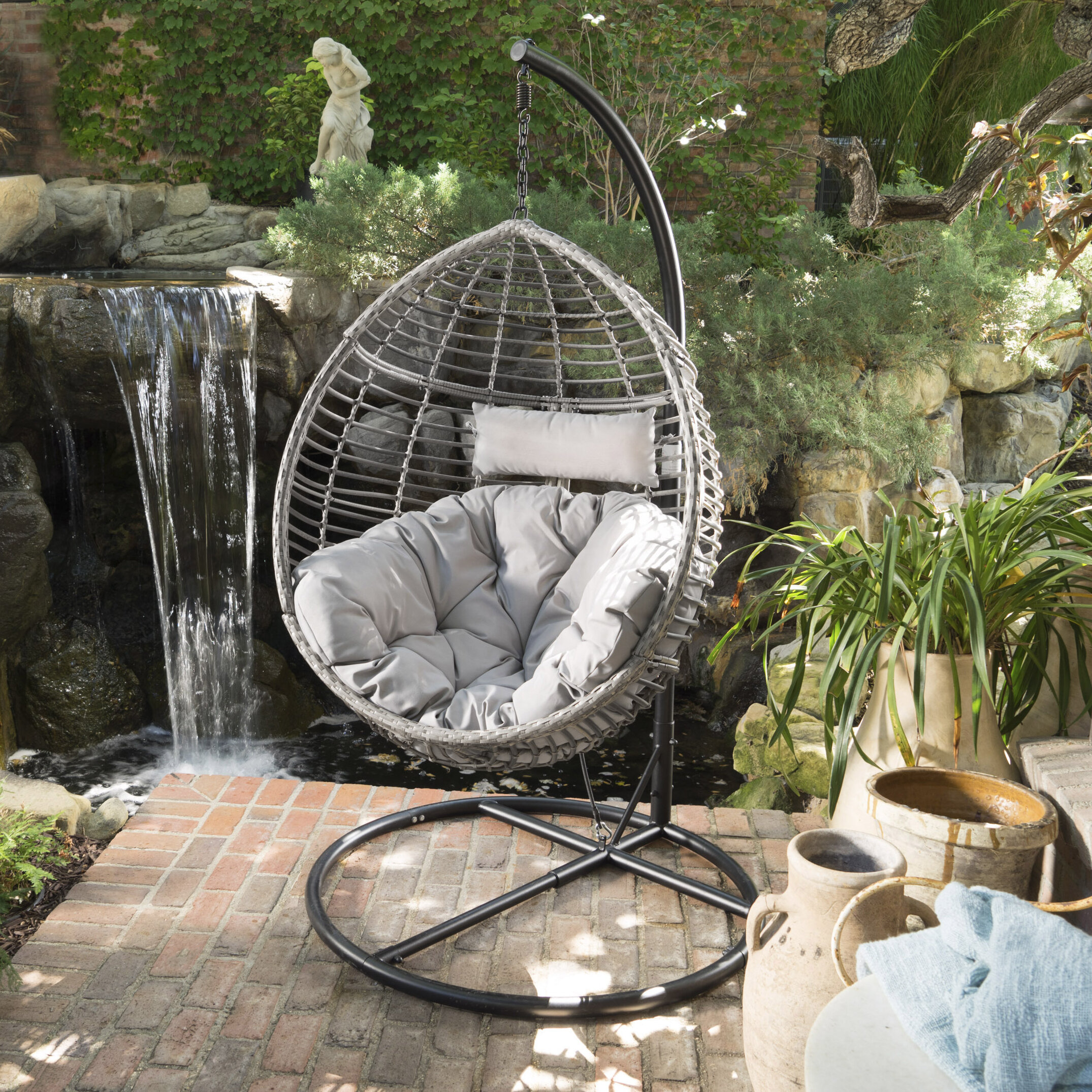 Brayden Studio Weller Outdoor Wicker Basket Swing Chair With Stand U0026  Reviews | Wayfair