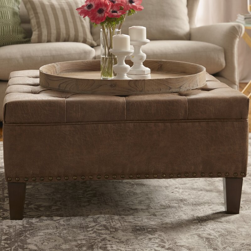 defaultname - Brown Leather Ottoman