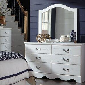 Cierra 6 Drawer Double Dresser with Mirror by Beachcrest Home