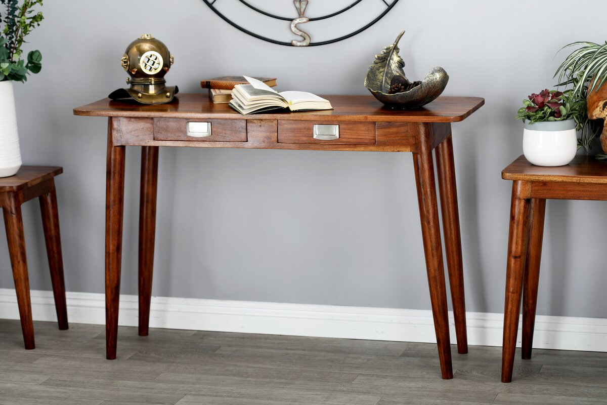 Morena Modern Kanaloa Wood Console Table With Drawers Reviews  ~ Sofa Tables With Drawers