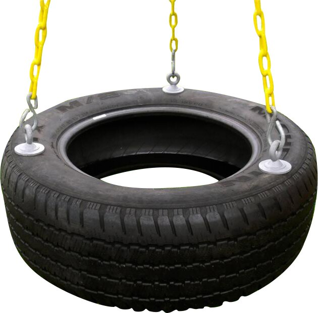 3 Chain Rubber Tire Swing with Coated Chain