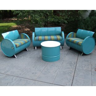 Astoria Lagoon 4 Piece Sunbrella Sofa Set With Cushions. By Drum Works  Furniture