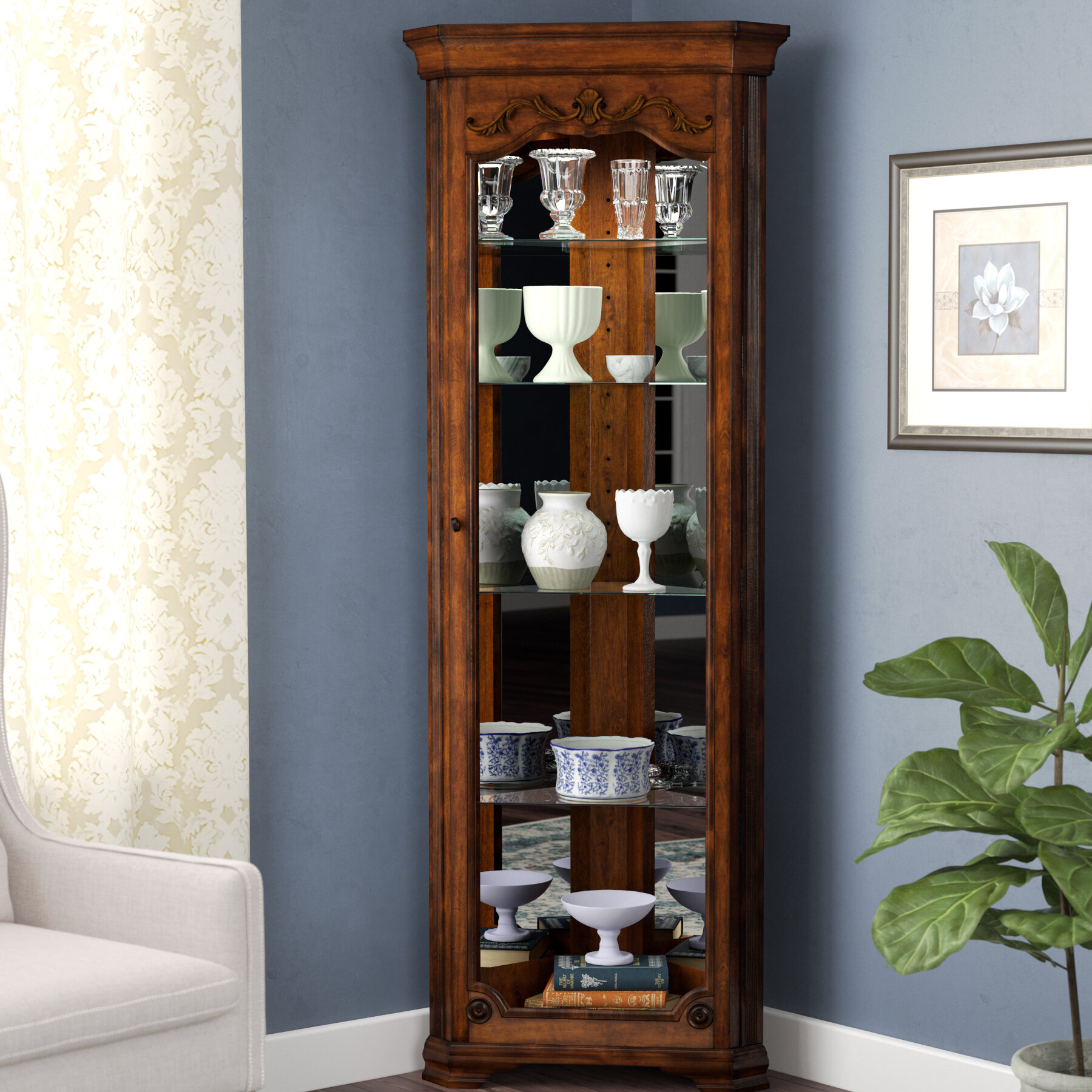 Astoria Grand Kenric Lighted Corner Curio Cabinet Reviews Wayfair
