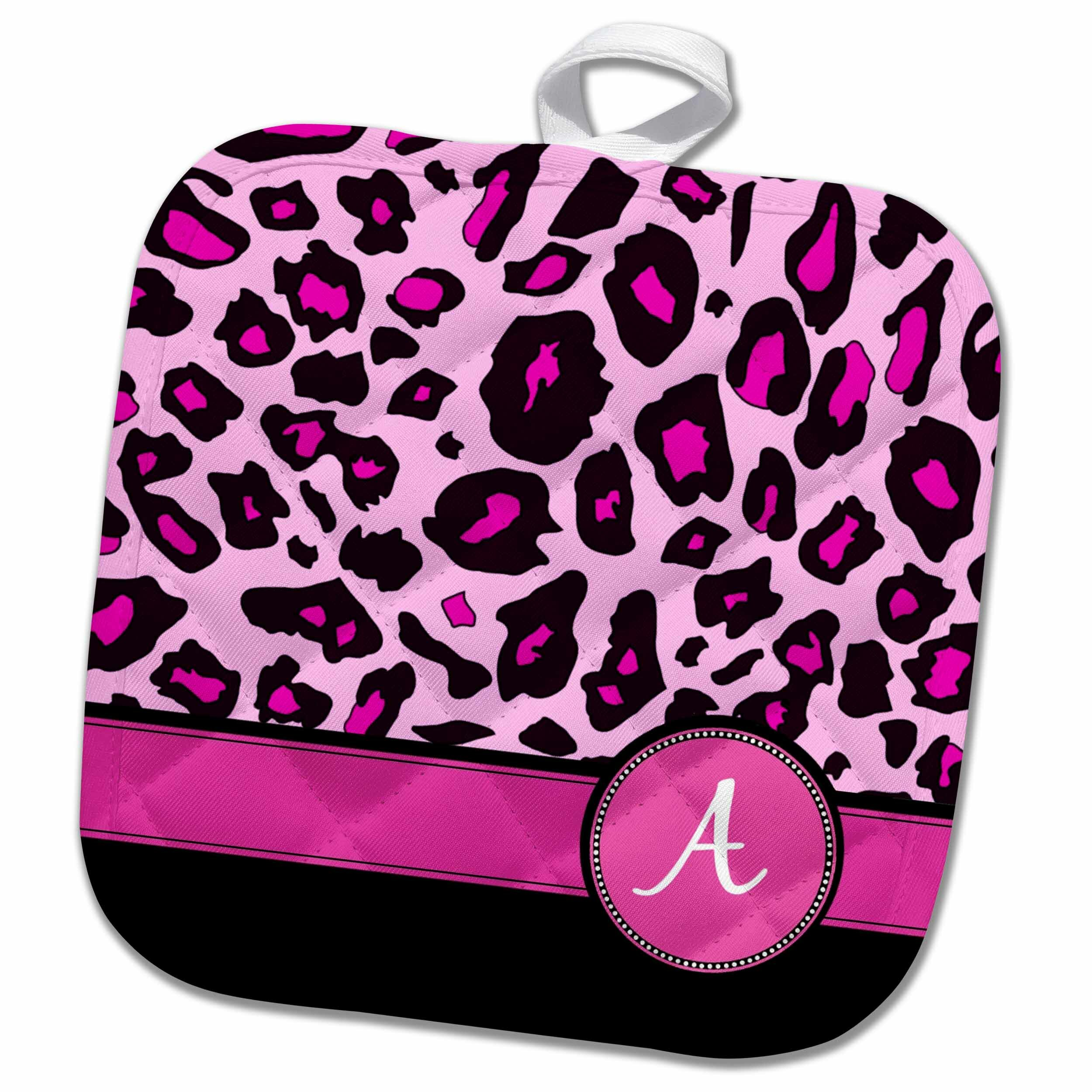 3drose Personalized Initial A Monogrammed Hot And Leopard
