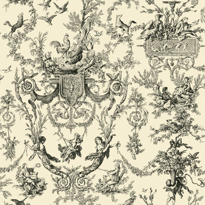 "Old World 33' x 20.5"" Toile Wallpaper"