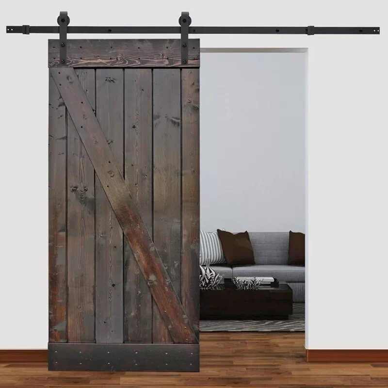 Barn Doors For Homes Interior outstanding reclaimed wooden single sliding barn doors for homes with open cabinetry shelves as white modern interior ideas Solid Wood Panelled Pine Slab Interior Barn Door