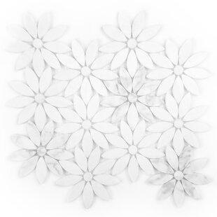 Tuscany Flower Random Sized Marble Mosaic Tile In White