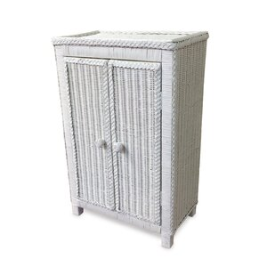 Free Standing Wicker Accent Cabinet