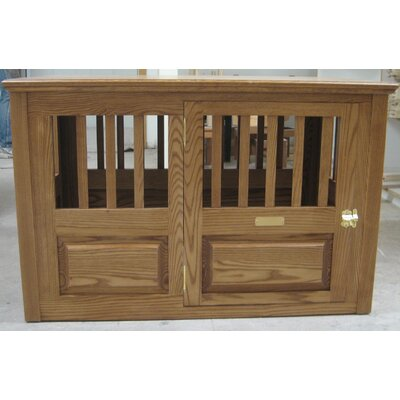"Solid Wood Pet Crate Classic Pet Beds Size: Medium (27"" H X 25"" W X 40"" L), Color: Mahogany, Door Location: Side - Right Side"