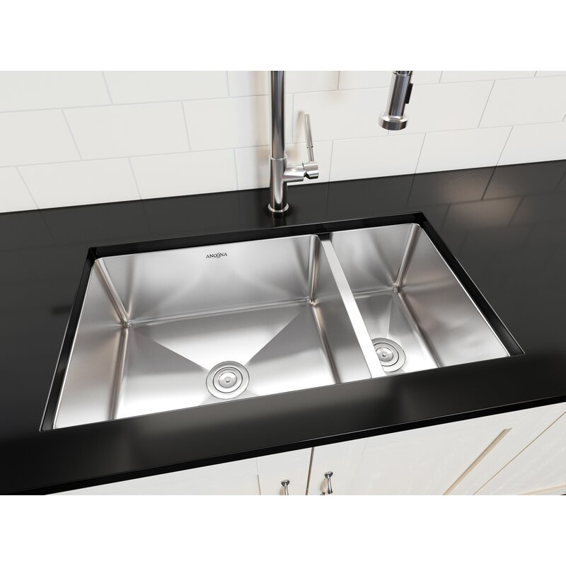 Prestige Series Stainless Steel 32  L x 18  W 70/30 Double Bowl Undermount Kitchen Sink with Grids and Strainers u0026 Reviews | AllModern  sc 1 st  AllModern & Prestige Series Stainless Steel 32
