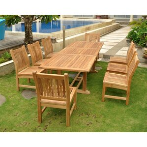 Outdoor Wood Dining Furniture eight person patio dining sets you'll love | wayfair