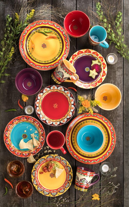 Galicia 16 Piece Dinnerware Set Service for 4 & Euro Ceramica Galicia 16 Piece Dinnerware Set Service for 4 ...