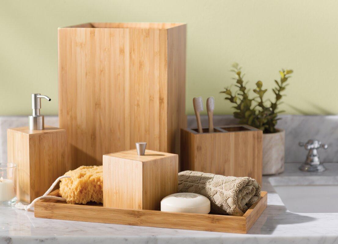 the twillery co. defoe bamboo 5-piece bathroom accessory set & reviews | wayfair