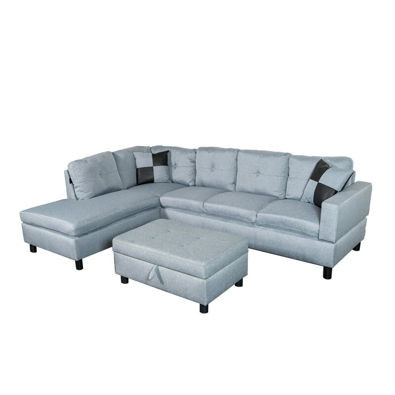 Charlton Home Bellfllower Linen Fabric Grey Sectional Sofa
