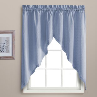 Gentil Blue Gingham Kitchen Curtains | Wayfair