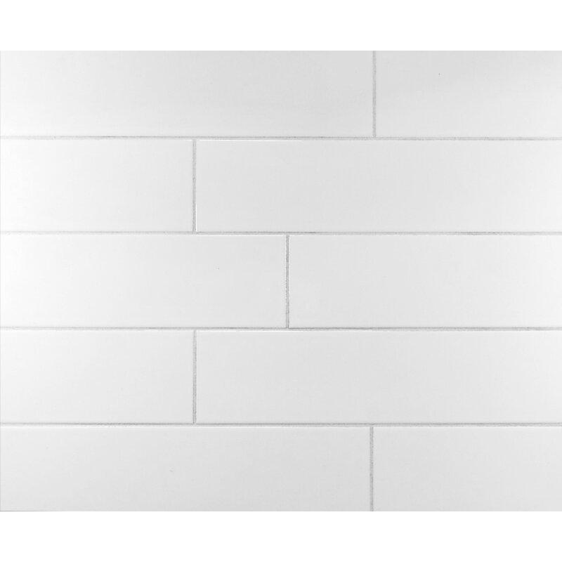 Mulia Tile Classic 4 X 16 Ceramic Subway Tile In Cool White
