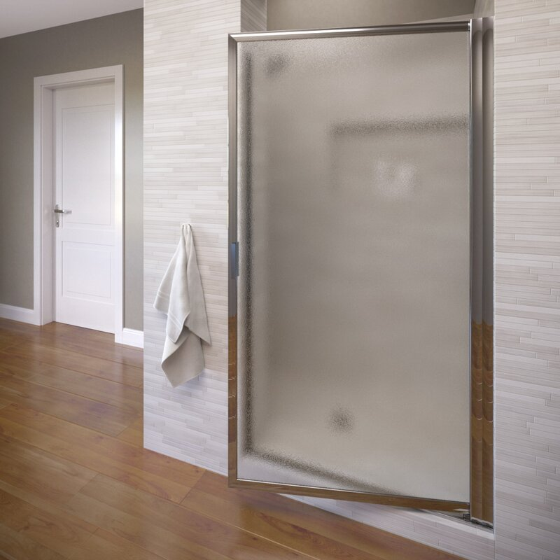"Semi Frameless Shower Enclosures basco classic 34.25"" x 66"" pivot semi-frameless shower door 