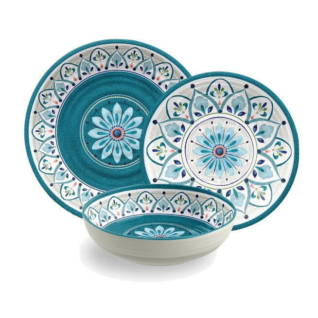 Moroccan Medallion Melamine 12 Piece Dinnerware Set Service for 4  sc 1 st  Wayfair & TarHong Moroccan Medallion Melamine 12 Piece Dinnerware Set Service ...