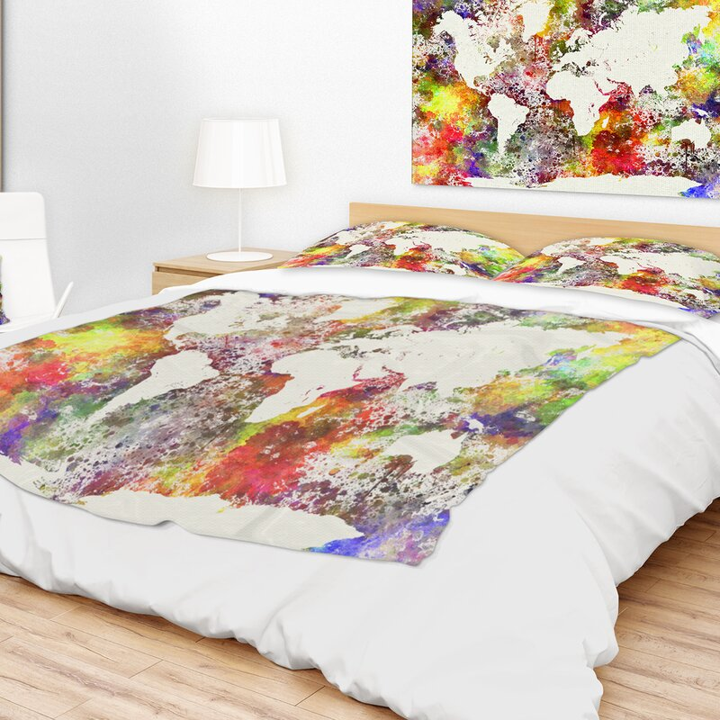 East urban home watercolor world map blanket wayfair watercolor world map blanket gumiabroncs Choice Image