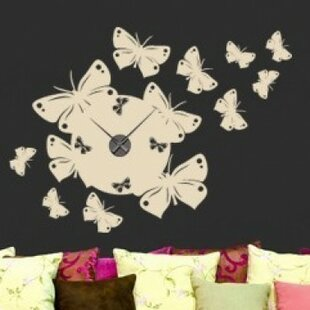 Butterfly Wall Clock Wall Decal & Clock Wall Decal | Wayfair
