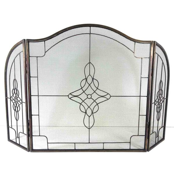 Symple Stuff Decorative Filigree 3 Panel Wrought Iron Fireplace