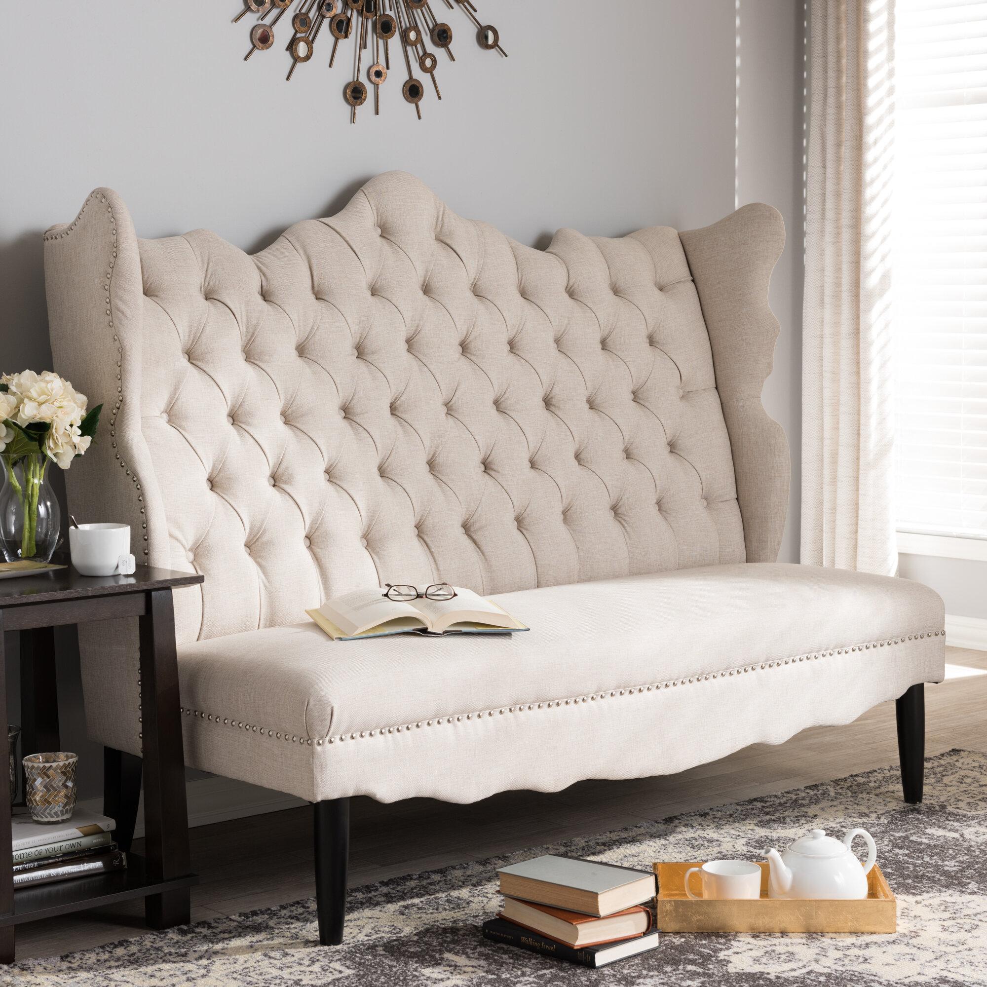 tufted main high halpin settee back joss pdp furniture bench